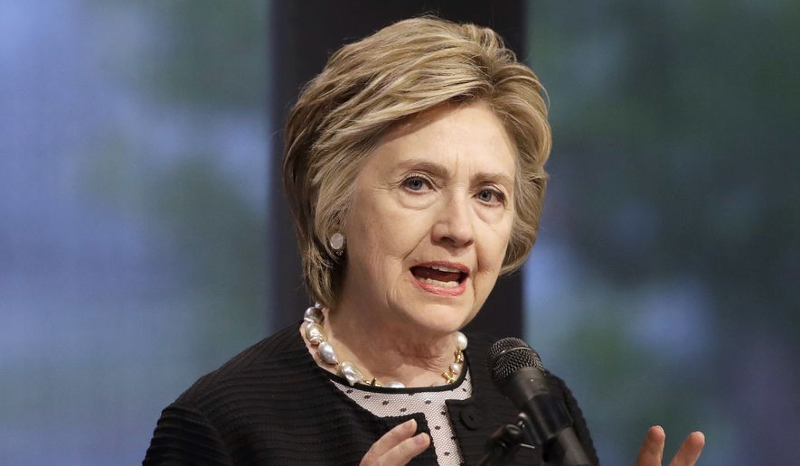 "FILE - In this June 5, 2017 file photo, former Secretary of State Hillary Clinton speaks in Baltimore.  Clinton has told an Australian state broadcaster that WlkiLeaks founder Julian Assange was a tool of Russia in his release of hacked emails that hurt the U.S. Democratic presidential nominee's campaign.  Clinton told Australian Broadcasting Corp. in an interview broadcast on Monday, Oct. 16, 2017,  that the Australian whistleblower had ""become a kind of nihilistic opportunist who does the bidding of a dictator,"" Russian President Vladimir Putin. (AP Photo/Patrick Semansky, File)"