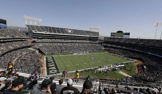 Fans watch from a general view at Oakland Alameda County Coliseum during the first half of an NFL football game between the Oakland Raiders and the Baltimore Ravens in Oakland, Calif., Sunday, Oct. 8, 2017. (AP Photo/Marcio Jose Sanchez)