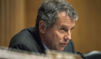 In this Jan. 12, 2017, file photo, Sen. Sherrod Brown, D-Ohio, ranking member on the Senate Banking, Housing, and Urban Affairs Committee, speaks on Capitol Hill in Washington during the committee's confirmation hearing for Housing and Urban Development Secretary-designate Ben Carson. (AP Photo/Zach Gibson, File)