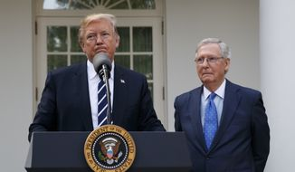 Senate Majority Leader Mitch McConnell, R-Ky., listens as President Donald Trump speaks with reporters in the Rose Garden of the White House, Monday, Oct. 16, 2017, in Washington. (AP Photo/Evan Vucci)