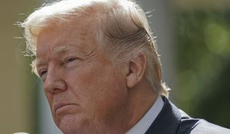 President Donald Trump listens to a questions prior to speaking to members of the media in the Rose Garden of the White House, Monday, Oct. 16, 2017. (AP Photo/Pablo Martinez Monsivais)