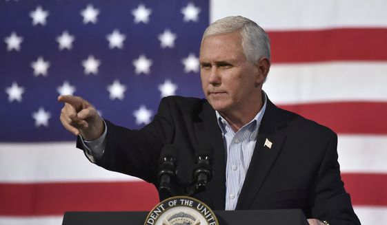 Vice President Mike Pence speaks on behalf of Virginia Republican gubernatorial candidate Ed Gillespie during a campaign rally at the Washington County Fairgrounds Saturday, Oct. 14, 2017, in Abingdon, Va. Establishment figure Gillespie is in a neck-and-neck race against Democratic Lt. Gov. Ralph Northam. (Andre Teague/The Bristol Herald-Courier via AP)
