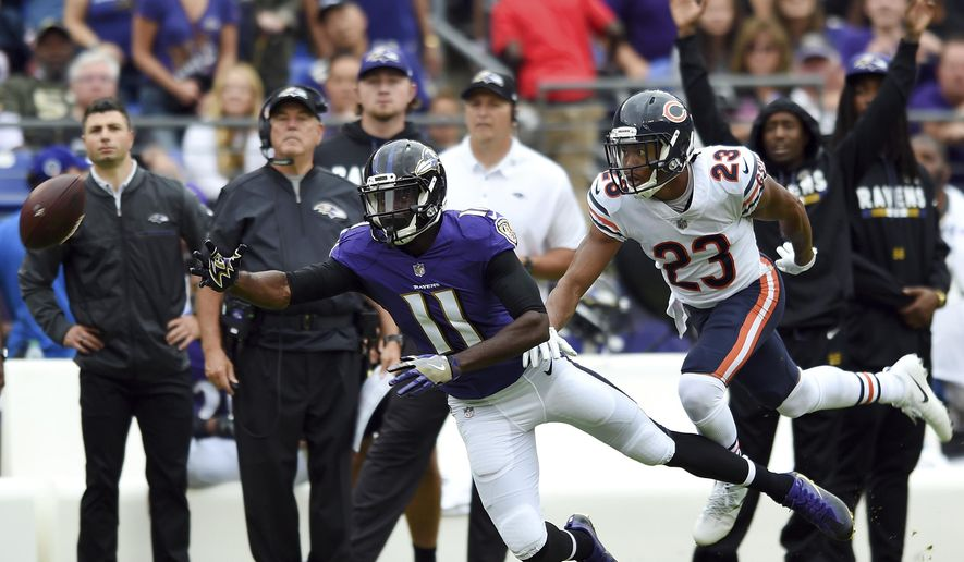 Baltimore Ravens wide receiver Breshad Perriman (11) reaches but is unable to catch a pass as he is pressured by Chicago Bears cornerback Kyle Fuller in the first half of an NFL football game, Sunday, Oct. 15, 2017, in Baltimore. (AP Photo/Gail Burton) **FILE**