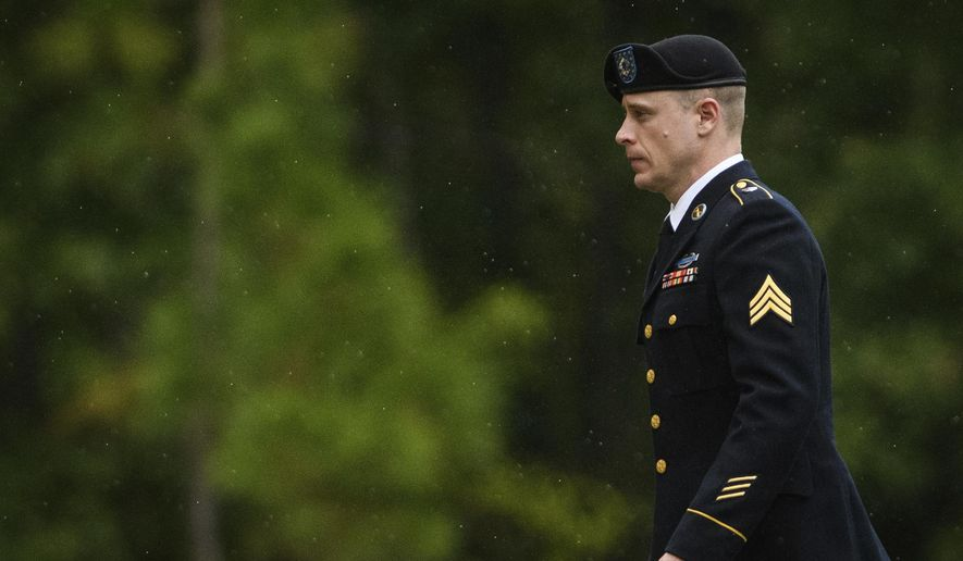 Sgt. Bowe Bergdahl returns to the Fort Bragg courthouse after a lunch break on Monday, Oct. 16, 2017, on Fort Bragg, N.C. Bergdahl, who walked off his base in Afghanistan in 2009 and was held by the Taliban for five years, is charged with desertion and misbehavior before the enemy. (Andrew Craft/The Fayetteville Observer via AP)