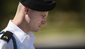 FILE- In this Sept. 27, 2017, file photo, Army Sgt. Bowe Bergdahl leaves a motions hearing during a lunch break in Fort Bragg, N.C. Bergdahl is expected to plead guilty on Monday, Oct. 16, to charges that he endangered comrades by walking away from a remote post in Afghanistan in 2009. The U.S. Army said Bergdahl asked to enter his plea before the military judge at Fort Bragg. (Andrew Craft/The Fayetteville Observer via AP, File)