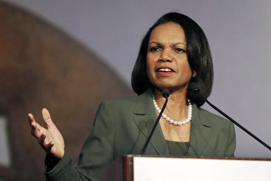 In this March 15, 2014, file photo, former Secretary of State Condoleezza Rice gestures while speaking before the California Republican Party 2014 Spring Convention in Burlingame, Calif. (AP Photo/Ben Margot, File) ** FILE **