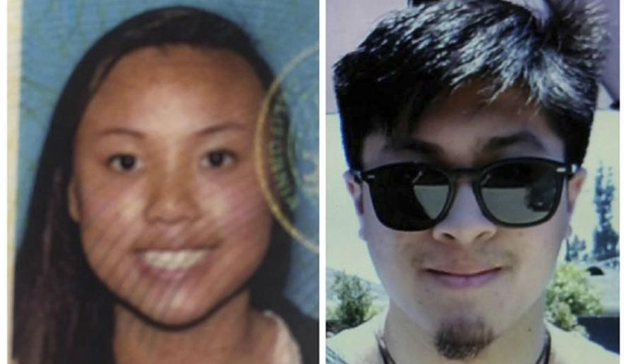 This combo made from undated photos provided by the National Park Service show Rachel Nguyen, left, and Joseph Orbeso, as they seek the public's help in locating them. The father of Orbeso, a missing California man, says he believes the bodies of his son and his son's girlfriend, Nguyen, have been found in Joshua Tree National Park, Calif., near the area where the couple vanished while hiking nearly three months ago. Officials have not yet confirmed the identities of the bodies discovered Sunday in the desert park. (National Park Service via AP)