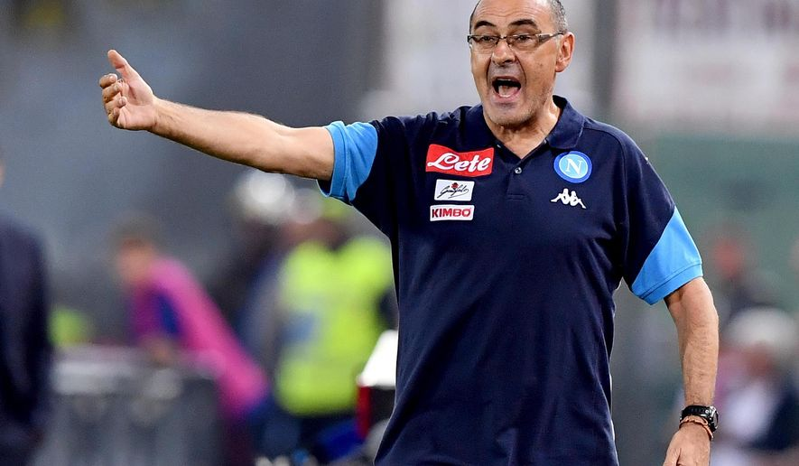 Napoli coach Maurizio Sarri shouts during the Serie A soccer match between Roma and Napoli at the Rome Olympic stadium, Sunday, Oct. 14, 2017. (Ettore Ferrari/ANSA via AP)