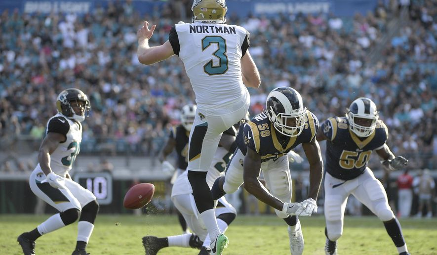 Los Angeles Rams outside linebacker Cory Littleton (58) blocks a punt by Jacksonville Jaguars punter Brad Nortman (3) which was returned for a touchdown by Malcolm Brown during the first half of an NFL football game, Sunday, Oct. 15, 2017, in Jacksonville, Fla. (AP Photo/Phelan M. Ebenhack)