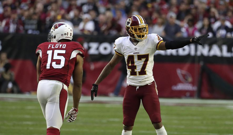 File-This Dec. 4, 2016, file photo shows Washington Redskins cornerback Quinton Dunbar (47) during an NFL football game against the Arizona Cardinals in Glendale, Ariz. (AP Photo/Rick Scuteri, File) **FILE**