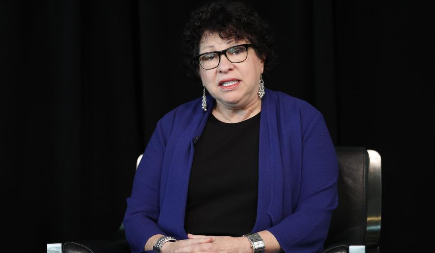 "FILE- In this Sept. 21, 2017, file photo, Supreme Court Justice Sonia Sotomayor speaks the Newseum in Washington. Sotomayor told college students in New York City that she sometimes feels ""great turmoil"" inside when she is hearing testimony on the bench, but works hard to keep her emotions and personal biases in check. Sotomayor participated in a question-and-answer session with Queens College students Monday, Oct. 16, at an event celebrating the college's 80th anniversary. (AP Photo/Carolyn Kaster, File)"