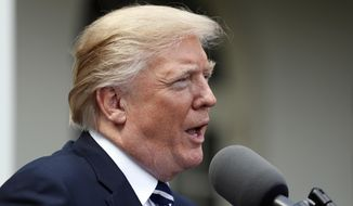 President Donald Trump speaks in the Rose Garden after meeting with Senate Majority Leader Mitch McConnell, R-Ky., at the White House, Monday, Oct. 16, 2017, in Washington. (AP Photo/Alex Brandon)