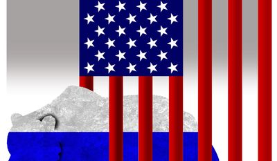 """Illustration on the failure to """"contain"""" Russia by Alexander Hunter/The Washington Times"""