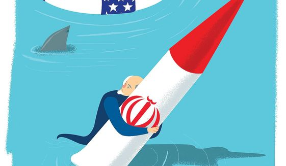Illustration on salvaging the U.S./Iran nuclear agreement by Linas Garsys/The Washington Times