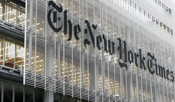 The New York Times building in New York is seen here on Oct. 10, 2012. (Associated Press) ** FILE **