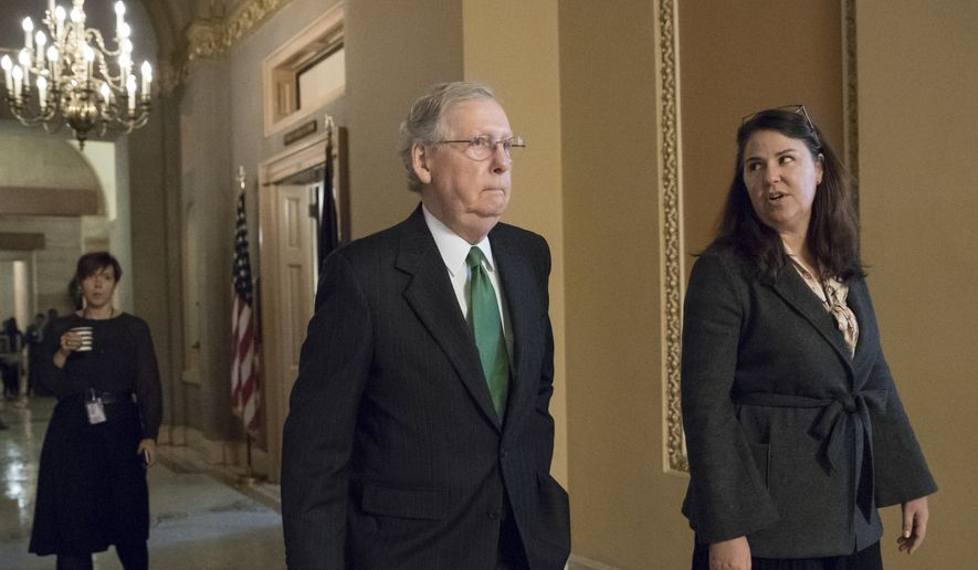 Senate Majority Leader Mitch McConnell, R-Ky., joined at right by Secretary for the Majority Laura Dove, walks from his office to the chamber for the start of the legislative day, at the Capitol in Washington, Tuesday, Oct. 17, 2017.  (AP Photo/J. Scott Applewhite)