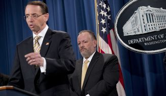 Deputy Attorney General Rod Rosenstein, left, accompanied by Drug Enforcement Administration Acting Administrator Robert Patterson, right, speaks at a news conference at the Justice Department in Washington, Tuesday, Oct. 17, 2017, to announce the indictments of two Chinese fentanyl trackers in the fight against opiate substances from entering the United States. (AP Photo/Andrew Harnik)