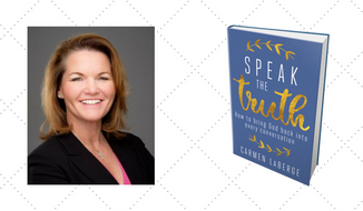 "Carmen LaBerge and her new book, ""Speak the Truth"" by Regnery Faith. (Images courtesy of Carmen LaBerge and Regnery Faith)"