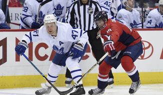 Washington Capitals right wing Brett Connolly (10) battles for the puck against Toronto Maple Leafs center Leo Komarov (47), of Estonia, during the first period of a NHL hockey game, Tuesday, Oct. 17, 2017, in Washington. (AP Photo/Nick Wass)