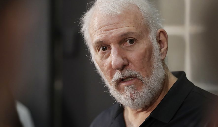 In this Sept. 25, 2017, file photo, San Antonio Spurs head coach Gregg Popovich answers questions during media day at the team's practice facility in San Antonio. (AP Photo/Eric Gay, File)