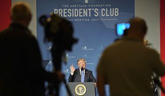 President Donald Trump speaks at the Heritage Foundation's annual President's Club meeting, Tuesday, Oct. 17, 2017 in Washington. (AP Photo/Pablo Martinez Monsivais)
