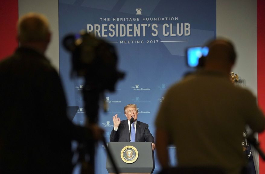 President Donald Trump speaks at the Heritage Foundation's annual President's Club meeting, Tuesday, Oct. 17, 2017 in Washington. (AP Photo/Pablo Martinez Monsivais)