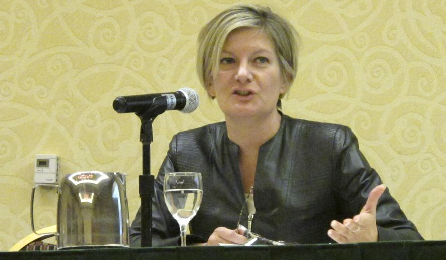 Alaska State Attorney General Jahna Lindemuth speaks at the Alaska Native Law Conference Tuesday, Oct. 17, 2017, in Anchorage, Alaska. Lindemuth outlined the state's position on the traditional form of tribal justice known as banishment. (AP Photo/Rachel D'Oro)