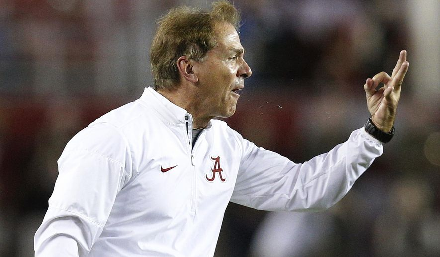 Alabama coach Nick Saban yells at the officials during the second half the team's NCAA college football game against Arkansas, Saturday, Oct. 14, 2017, in Tuscaloosa, Ala. (AP Photo/Brynn Anderson)