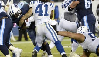 Tennessee Titans running back DeMarco Murray (29) pushes past Indianapolis Colts strong safety Matthias Farley (41) as Murray scores a touchdown on a 3-yard run in the second half of an NFL football game Monday, Oct. 16, 2017, in Nashville, Tenn. (AP Photo/Mark Zaleski)