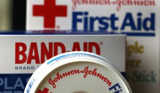 FILE - In this July 16, 2012 file photo, Johnson & Johnson products are displayed in Orlando, Fla. Johnson & Johnson reports earnings, Tuesday, Oct. 17, 2017. (AP Photo/John Raoux, File)