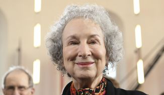 FILE - A Sunday, Oct. 15, 2017 file photo of Canadian author, Margaret Atwood, attending a ceremony in Frankfurt, Germany. Atwood has been awarded the Franz Kafka Prize, a literary award. An international jury chose Atwood in May to win the annual Franz Kafka Prize awarded by the Prague-based Franz Kafka Society.  ( Arne Dedert/dpa via AP, File)