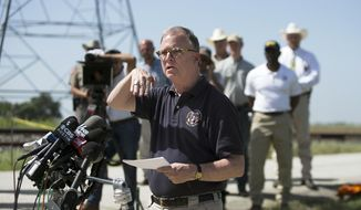 FILE - In this Aug. 1, 2016, file photo, National Transportation Safety Board (NTSB) member Robert Sumwalt speaks during a news conference at the scene of the worst hot air balloon crash in U.S. history that killed 16 people in July 2016 near Lockhart, Texas. The crash could result in federal investigators to call for hot air balloon pilots to obtain medical certificates. (Deborah Cannon/Austin American-Statesman via AP File)