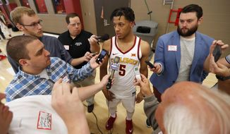 Iowa State guard Lindell Wigginton speaks to reporters during Iowa State's annual NCAA college basketball media day, Tuesday, Oct. 17, 2017, in Ames, Iowa. (AP Photo/Charlie Neibergall)