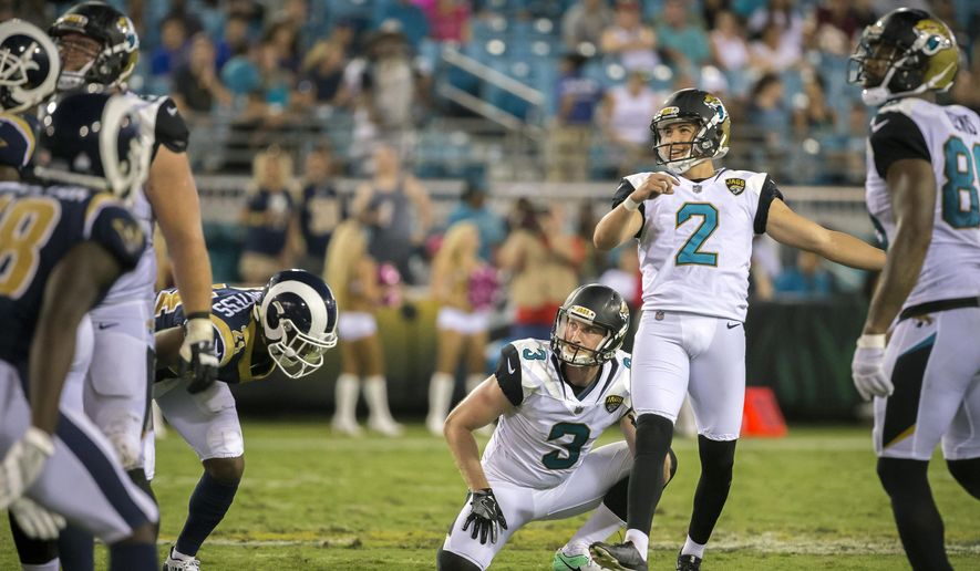 FILE - In this Oct. 15, 2017, file photo, Jacksonville Jaguars kicker Jason Myers (2) reacts to missing a field goal late in the the fourth quarter of an NFL football game against the Los Angeles Rams, in Jacksonville, Fla. The Jaguars have parted ways with kicker Jason Myers, waiving him Tuesday, Oct. 17, two days after he hooked two 54-yard field goals in a loss to the Rams. (AP Photo/Stephen B. Morton)