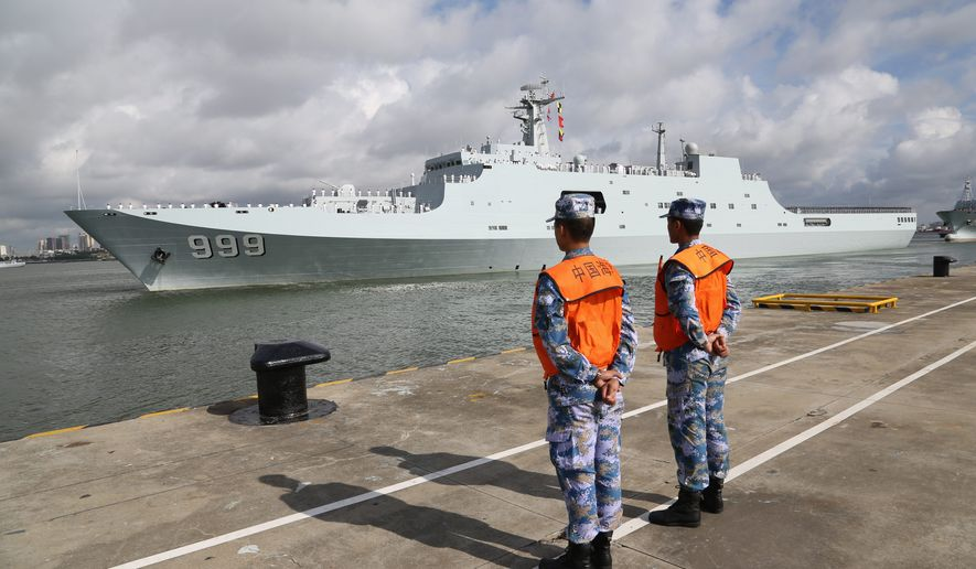 In this Tuesday, July 11, 2017, photo released by China's Xinhua News Agency, a ship carrying Chinese military personnel departs a port in Zhanjiang, south China's Guangdong Province.  (Wu Dengfeng/Xinhua News Agency via AP) (credit) **FILE**