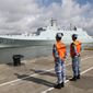 In this Tuesday, July 11, 2017, photo released by China's Xinhua News Agency, a ship carrying Chinese military personnel departs a port in Zhanjiang, south China's Guangdong Province. China on Tuesday dispatched members of its People's Liberation Army to the Horn of Africa nation of Djibouti to man the rising Asian giant's first overseas military base, a key part of a wide-ranging expansion of the role of China's armed forces. (Wu Dengfeng/Xinhua News Agencyvia AP) (credit)