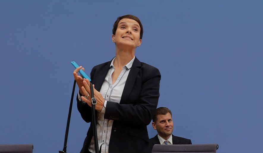 Frauke Petry said that she won't be part of the Alternative for Germany party's parliament faction. (Associated Press)
