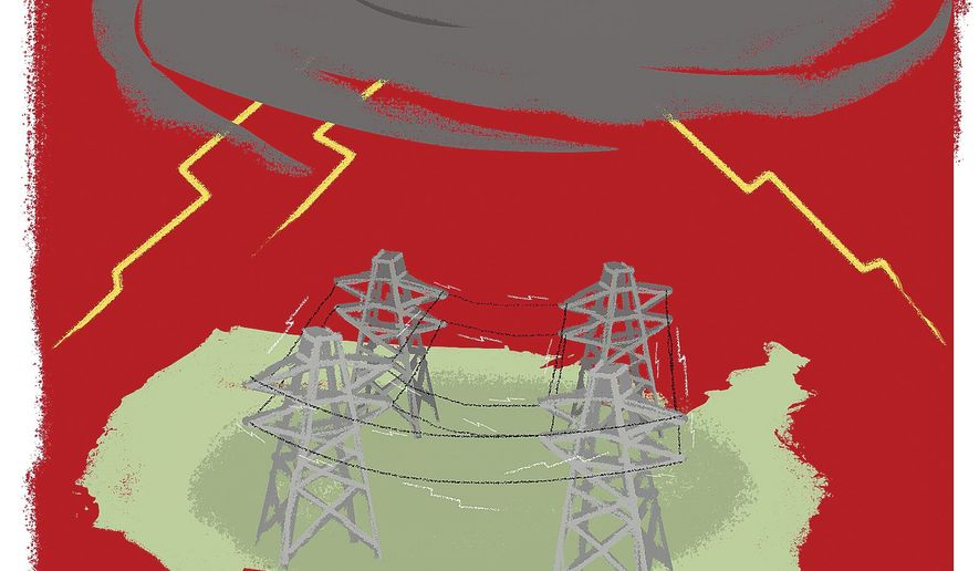 Illustration on the threat of hurricanes to the electrical grid by Linas Garsys/The Washington Times