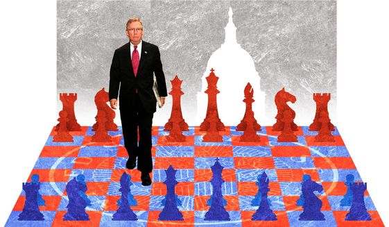 Illustration on Mitch McConnell by Alexander Hunter/The Washington Times