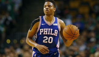 In this Oct. 9, 2017, photo, Philadelphia 76ers guard Markelle Fultz during the first quarter of a preseason NBA basketball game against the Boston Celtics in Boston. Fultz gets to start the next chapter of his career in a familiar spot. The No. 1 pick in the draft will make his NBA debut for the 76ers on Wednesday night, Oct. 18, at the Washington Wizards, about a half-hour from home. (AP Photo/Winslow Townson)