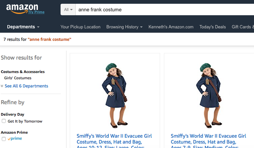 """Depicted her from an Oct. 18 Amazon.com screencap is the design for an """"Anne Frank"""" costume that set off controversy recently. The website HalloweenCostumes.com has removed the listing, but Amazon.com sells the costume under the term """"World War II Evacuee Girl,"""" through a third-party seller. (Amazon.com)"""