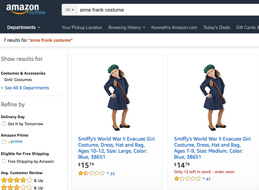 "Depicted her from an Oct. 18 Amazon.com screencap is the design for an ""Anne Frank"" costume that set off controversy recently. The website HalloweenCostumes.com has removed the listing, but Amazon.com sells the costume under the term ""World War II Evacuee Girl,"" through a third-party seller. (Amazon.com)"