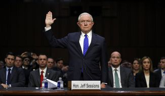 Attorney General Jeff Sessions is sworn in before the Senate Judiciary Committee on Capitol Hill in Washington, Wednesday, Oct. 18, 2017. (AP Photo/Carolyn Kaster)