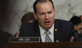 Senate Judiciary Committee member Sen. Mike Lee, R-Utah, questions Attorney General Jeff Sessions during a Senate Judiciary Committee hearing on Capitol Hill in Washington, Wednesday, Oct. 18, 2017. (AP Photo/Carolyn Kaster)