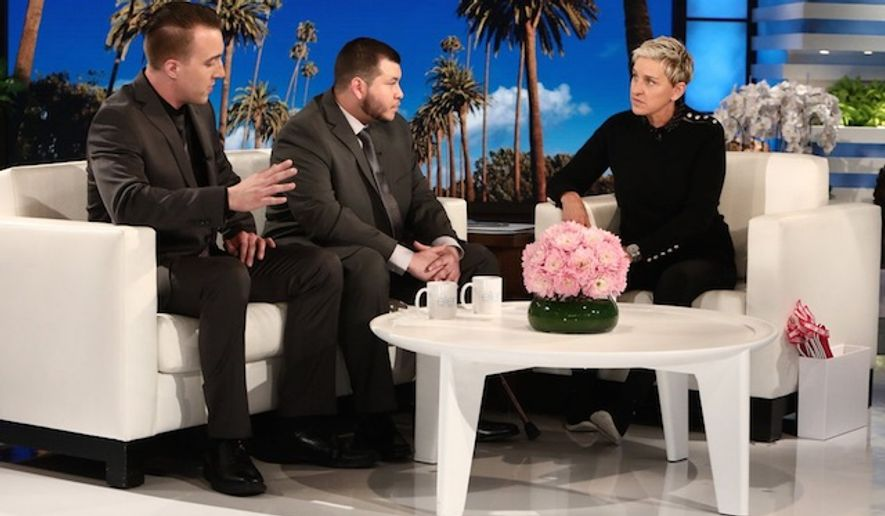 """Jesus Campos (center) appears on """"The Ellen DeGeneres Show,"""" Oct. 18, 2017. (Image: Twitter, Ellen DeGeneres)"""