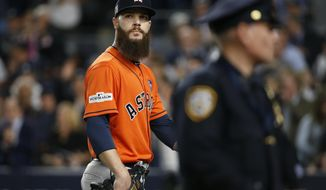 Houston Astros starting pitcher Dallas Keuchel looks back after being taken out of the game during the fifth inning of Game 5 of baseball's American League Championship Series against the New York Yankees Wednesday, Oct. 18, 2017, in New York. (AP Photo/Kathy Willens)