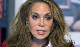 FILE - In this May 7, 2015 file photo, Pamela Geller speaks during an interview at The Associated Press in New York. Jurors are set to resume deliberations Wednesday, Oct. 18, 2017, in the case of a man accused of plotting to behead conservative blogger Geller on behalf of the Islamic State group. Prosecutors say David Wright was the ringleader of a plot to kill Geller, who organized a Prophet Muhammad cartoon contest in Texas. (AP Photo/Mark Lennihan, File)
