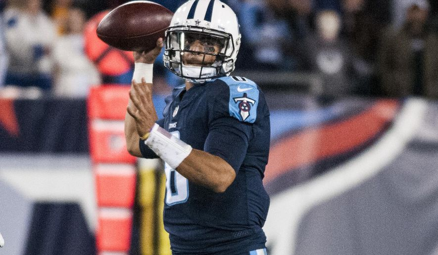 Tennessee Titans quarterback Marcus Mariota (8) throws a pass during the Titans' 36-22 win over the Indianapolis Colts on Monday, Oct. 16, 2017, at Nissan Stadium. (Austin Anthony/Daily News via AP)