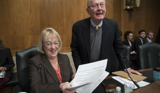 "Sen. Patty Murray, D-Wash., the ranking member, and Sen. Lamar Alexander, R-Tenn., chairman of the Senate Health, Education, Labor, and Pensions Committee, meet before the start of a hearing on Capitol Hill in Washington, Wednesday, Oct. 18, 2017, the morning after they reached a deal to resume federal payments to health insurers that President Donald Trump had halted. Sen. Alexander says Trump called him Wednesday morning ""to be encouraging"" of bipartisan efforts to come up with a plan to stabilize health insurance premiums. (AP Photo/J. Scott Applewhite)"