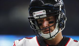 FILE - In this Sept. 24, 2017, file photo, Atlanta Falcons quarterback Matt Ryan reacts during an NFL football game  against the Detroit Lions in Detroit. The NFL's reigning MVP is off to a sluggish start for the Atlanta Falcons, with points way down and interceptions way up, troubling numbers that are really in the spotlight heading into a rematch against Tom Brady and the New England Patriots.  (AP Photo/Paul Sancya< FIle)